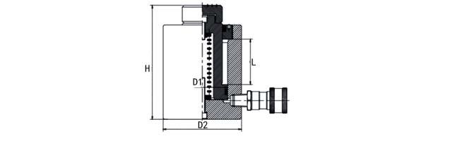 单作用液压千斤顶按105%安全载荷设计(其它厂家同类产品一般按80%安全载荷设计:100吨千斤顶只能顶80吨!) 单作用液压千斤顶缸体部份采用锻造制作工艺,强度大,超长使用寿命。 本产品自带弹簧复位功能,在卸压时无需负载活塞自动回落。 为了延长千斤顶的使用寿命,增加防尘圈。 本产品所有油封均采用瑞典SKF制造。   【龙升单作用液压千斤顶尺寸图】