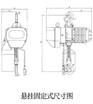 龙升1吨悬挂固定式单链单速环链电动葫芦尺寸图