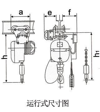 龙升PK型环链电动葫芦运行式尺寸图