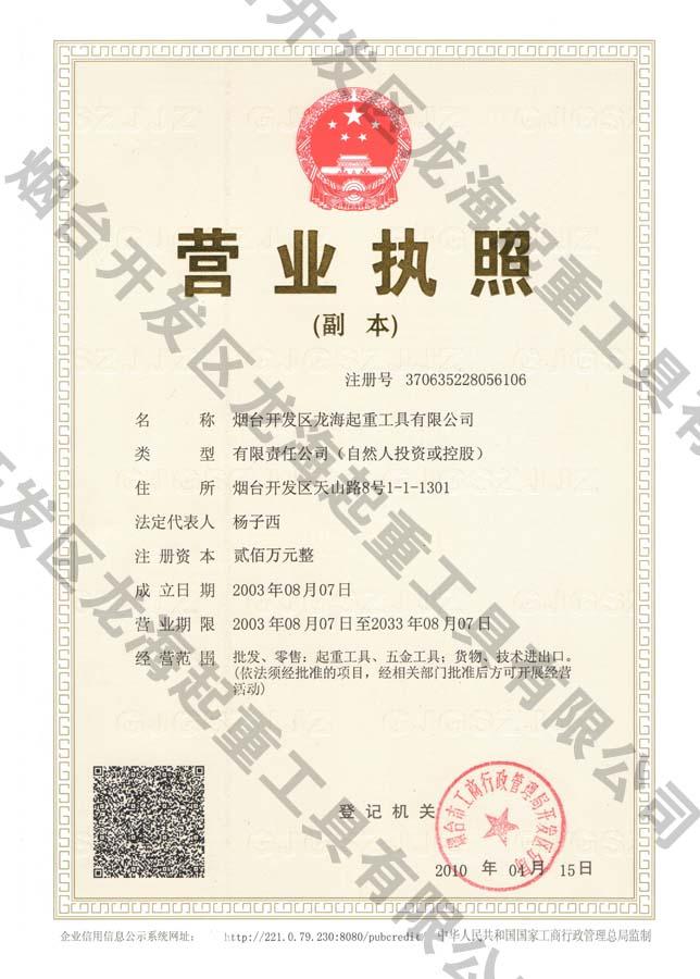 2014龙海起重工具营业执照