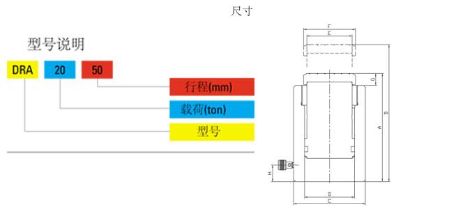 DRA型铝合金液压千斤顶尺寸图